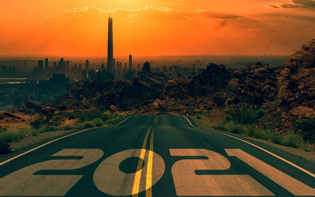 2021 painted on a road