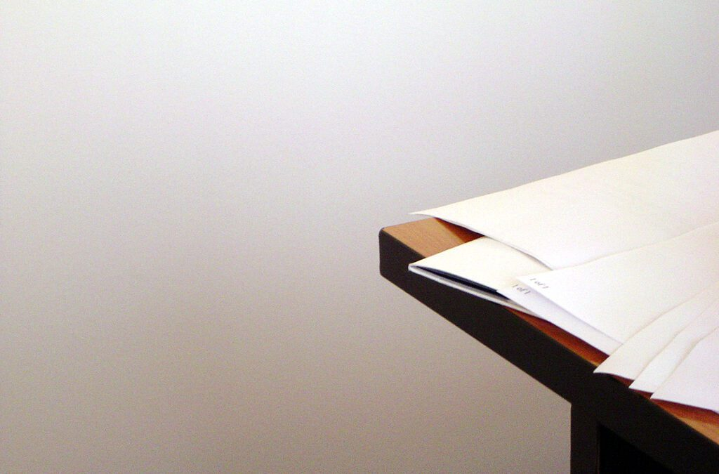 papers on a table