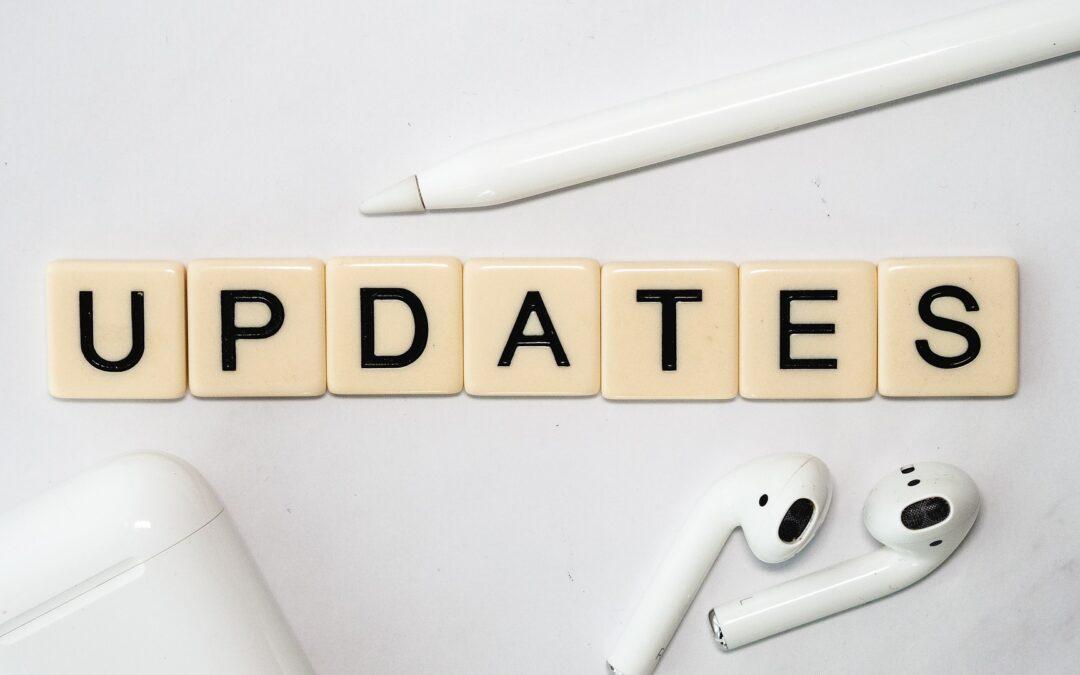 updates written on tiles
